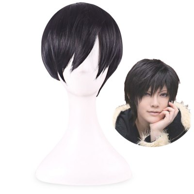Handsome Short Straight Black Full Hair Toupee Wigs Cosplay