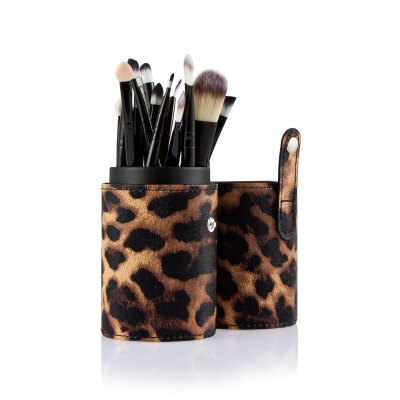 20pcs Eye Makeup Brushes with Leopard Storage Case