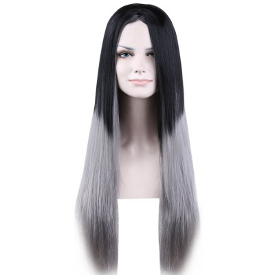 Lady Long Straight Ombre Grey Full Wigs Heat Resistant Hair Party