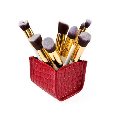 Alligator Pattern Storage Box + 10pcs Makeup Brushes