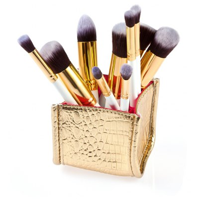 10Pcs Makeup Brush with Golden PU Box
