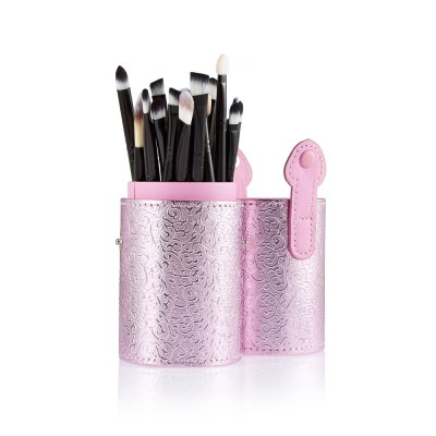 20 Eye Makeup Brushes Combination Pink Storage Cylinder Tool
