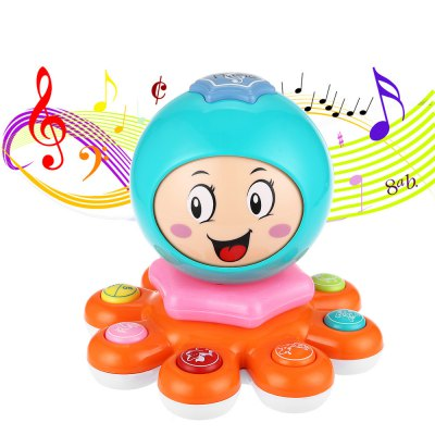KUNSHENG Funny Octopus Animal Face Off Electric Musical Piano Child Intelligent Toy