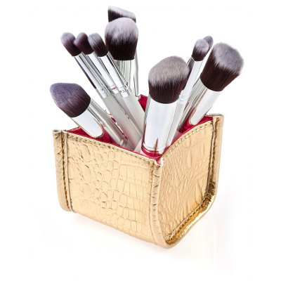 10Pcs Cosmetic Makeup Brush with Golden Alligator Pattern PU Box