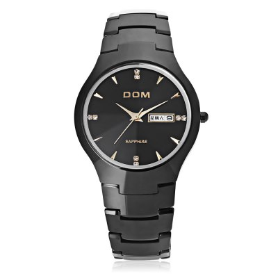 DOM 698 Men Quartz WatchMens Watches<br>DOM 698 Men Quartz Watch<br><br>Band Length: 7.87 inch<br>Band Material Type: Tungsten steel<br>Band Width: 20mm<br>Case material: Tungsten steel<br>Case Shape: Round<br>Clasp type: Butterfly Clasp<br>Dial Diameter: 1.42 inch<br>Dial Display: Analog<br>Dial Window Material Type: Sapphire<br>Feature: Date,Day<br>Gender: Men<br>Movement: Quartz<br>Style: Business<br>Water Resistance Depth: 30m<br>Product weight: 0.140 kg<br>Package weight: 0.266 kg<br>Product Size(L x W x H): 20.00 x 4.00 x 0.80 cm / 7.87 x 1.57 x 0.31 inches<br>Package Size(L x W x H): 9.50 x 7.00 x 6.00 cm / 3.74 x 2.76 x 2.36 inches<br>Package Contents: 1 x DOM 698 Male Quartz Watch, 1 x Cloth, 1 x Screwdriver, 1 x Bilingual Manual in English and Chinese, 1 x Pen
