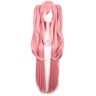 Women Charming Long Pink Wigs Synthetic Hair Party Cosplay