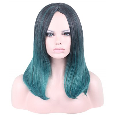 Women Hair Wigs Harajuku Black Mixed Green Ombre Cosplay