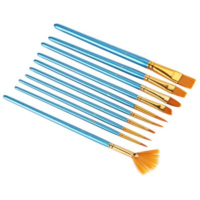10pcs Blue Nylon Wool Drawing Brush Pen Painting Nail