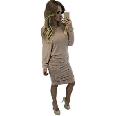 One Shoulder Long Sleeve Solid Color Bodycon Women Midi Dress