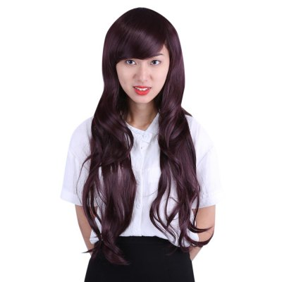 Women Natural Long Wavy Hair Wigs Modified Face Bangs