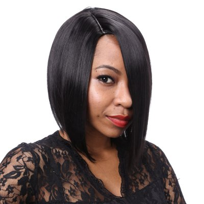 Sexy Women Side Bangs Short Straight Full Wigs Black Hair