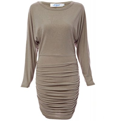 Simple One Shoulder Long Sleeve Solid Color Bodycon Women Midi Dress