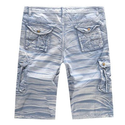 Multi-pocket Mid Waist Moire Men Casual Cargo Shorts