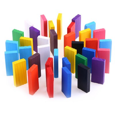 100pcs Kids Bright Colored Wooden Tumbling Domino Toy