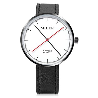 Miler A8299 - 01 Unisex Quartz WatchMiler A8299 - 01 Unisex Quartz Watch<br><br>Band Length: 7.8 inch<br>Band Material Type: Leather<br>Band Width: 18mm<br>Case material: Alloy<br>Case Shape: Round<br>Clasp type: Pin Buckle<br>Dial Diameter: 1.65 inch<br>Dial Display: Analog<br>Dial Window Material Type: Glass<br>Gender: Men,Women<br>Movement: Quartz<br>Style: Simple<br>Product weight: 0.040 kg<br>Package weight: 0.062 kg<br>Product Size(L x W x H): 24.00 x 4.50 x 0.80 cm / 9.45 x 1.77 x 0.31 inches<br>Package Size(L x W x H): 25.00 x 5.50 x 1.80 cm / 9.84 x 2.17 x 0.71 inches<br>Package Contents: 1 x Miler A8299 - 01 Unisex Quartz Watch