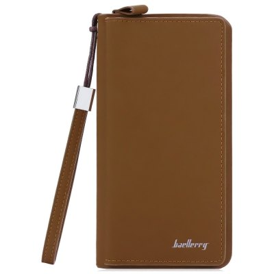 Baellerry Solid Color Zipper Vertical Portable Clutch Wallet