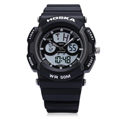 HOSKA HD004B Dual Movt Digital Quartz Children Sport WatchKids Watches<br>HOSKA HD004B Dual Movt Digital Quartz Children Sport Watch<br><br>Band Length: 7.5 inch<br>Band Material Type: Rubber<br>Band Width: 20mm<br>Case Shape: Round<br>Clasp type: Pin Buckle<br>Dial Diameter: 1.2 inch<br>Dial Diameter Unit: inch<br>Dial Display: Analog-Digital<br>Dial Material Type: Plastic<br>Dial Window Material Type: Glass<br>Feature: Alarm,Auto Date,Back Light,Complete Calendar,Led Display,Moon Phase<br>Gender: Children<br>Movement: Digital,Quartz<br>Style: Sport<br>Water Resistance Depth: 50m<br>Product weight: 0.053 kg<br>Package weight: 0.075 kg<br>Product Size(L x W x H): 24.00 x 5.00 x 2.00 cm / 9.45 x 1.97 x 0.79 inches<br>Package Size(L x W x H): 25.00 x 6.00 x 3.00 cm / 9.84 x 2.36 x 1.18 inches<br>Package Contents: 1 x HOSKA HD004B Dual Movt Children Sport Watch
