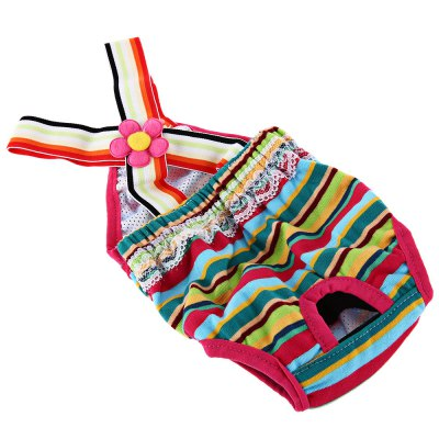 Rainbow Strip Female Pet Puppy Dog Physiological Pant