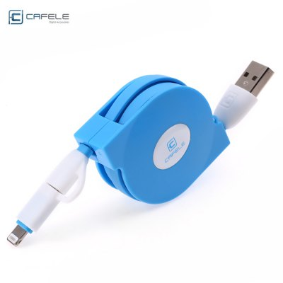 CAFELE 2 in 1 Stretchable Charging USB Data Cable for iPhone / Android