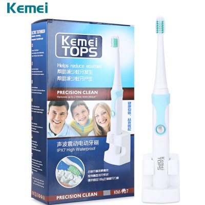 Kemei Ultrasonic Rechargeable Electric Toothbrush with 3 Heads