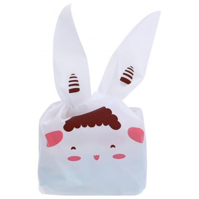 50pcs Rabbit Ears Shape Plastic Biscuit Bag