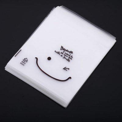 100pcs Smiley Face Pattern Plastic Cookie Packaging Bag