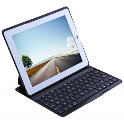Ultra Thin Bluetooth 3.0 Seven Colors LED Backlight Wireless Bluetooth Keyboard Case for  iPad 2 / 3 / 4
