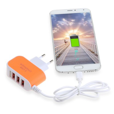 3 USB Port Travel Charger Adapter Micro USB Cable
