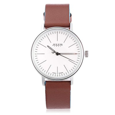 JULIUS JA - 814L Women Quartz WatchWomens Watches<br>JULIUS JA - 814L Women Quartz Watch<br><br>Band Length: 7.48 inch<br>Band Material Type: Genuine Leather<br>Band Width: 16mm<br>Case material: Alloy<br>Case Shape: Round<br>Clasp type: Pin Buckle<br>Dial Diameter: 1.34 inch<br>Dial Display: Analog<br>Dial Window Material Type: Hardlex<br>Feature: Luminous<br>Gender: Women<br>Movement: Quartz<br>Package Contents: 1 x JULIUS JA - 814L Women Quartz Watch<br>Package Size(L x W x H): 8.50 x 8.50 x 7.00 cm / 3.35 x 3.35 x 2.76 inches<br>Package weight: 0.132 kg<br>Product Size(L x W x H): 22.50 x 3.50 x 0.80 cm / 8.86 x 1.38 x 0.31 inches<br>Product weight: 0.029 kg<br>Style: Dress<br>Water Resistance Depth: 30m
