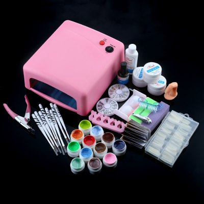 36W Cure Pink Lamp Dryer UV Gel Nail Tools Full Set