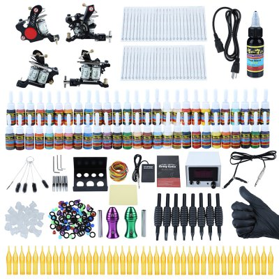 Professional Complete Tattoo Kit Shader Liner Wrap Coils Gun