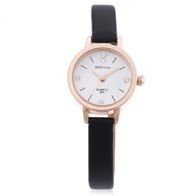 Rosivga 260 Female Quartz WatchWomens Watches<br>Rosivga 260 Female Quartz Watch<br><br>Band Length: 7.17 inch<br>Band Material Type: Leather<br>Band Width: 8mm<br>Case material: Alloy<br>Case Shape: Round<br>Clasp type: Pin Buckle<br>Dial Diameter: 0.9 inch<br>Dial Display: Analog<br>Dial Window Material Type: Glass<br>Gender: Women<br>Movement: Quartz<br>Style: Dress<br>Product weight: 0.012 kg<br>Package weight: 0.060 kg<br>Product Size(L x W x H): 20.50 x 2.50 x 1.00 cm / 8.07 x 0.98 x 0.39 inches<br>Package Size(L x W x H): 9.00 x 8.00 x 5.50 cm / 3.54 x 3.15 x 2.17 inches<br>Package Contents: 1 x Rosivga 260 Women Quartz Watch