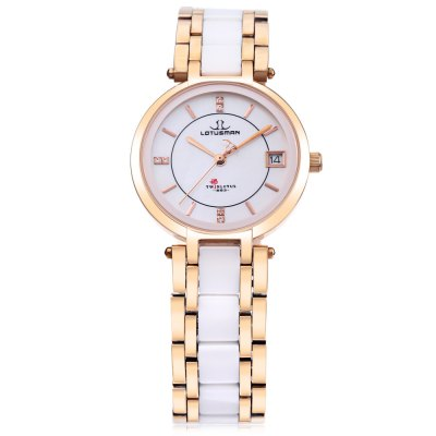 LOTUSMAN DL869TWA Women Quartz WatchWomens Watches<br>LOTUSMAN DL869TWA Women Quartz Watch<br><br>Band Length: 7.48 inch<br>Band Material Type: Ceramic,Stainless Steel<br>Band Width: 16 mm<br>Case material: Stainless Steel<br>Case Shape: Round<br>Clasp type: Butterfly Clasp<br>Dial Diameter: 1.18 inch<br>Dial Display: Analog<br>Dial Window Material Type: Sapphire<br>Feature: Date<br>Gender: Women<br>Movement: Quartz<br>Style: Dress<br>Water Resistance Depth: 30m<br>Product weight: 0.077 kg<br>Package weight: 0.470 kg<br>Product Size(L x W x H): 19.00 x 3.50 x 0.60 cm / 7.48 x 1.38 x 0.24 inches<br>Package Size(L x W x H): 12.00 x 12.00 x 10.00 cm / 4.72 x 4.72 x 3.94 inches<br>Package Contents: 1 x LOTUSMAN DL869TWA Women Quartz Watch