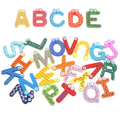 26pcs Alphabet Wooden Fridge Magnet Child Educational Toy