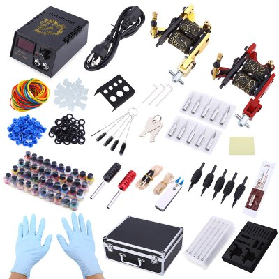 Complete Tattoo Kit 2 Machine Guns 40 Color Inks Power Supply 50 Needles with Case