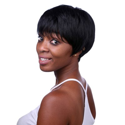 Women Side Bangs Black Natural Straight Short Synthetic Wigs