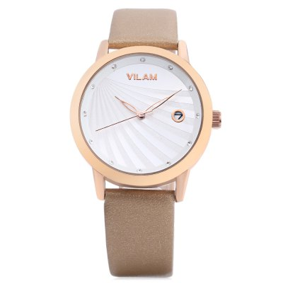 VILAM V1036L - 01G Women Quartz WatchWomens Watches<br>VILAM V1036L - 01G Women Quartz Watch<br><br>Band Length: 7.95 inch<br>Band Material Type: Leather<br>Band Width: 16mm<br>Case material: Alloy<br>Case Shape: Round<br>Clasp type: Pin Buckle<br>Dial Diameter: 1.45 inch<br>Dial Display: Analog<br>Dial Window Material Type: Hardlex<br>Feature: Date<br>Gender: Women<br>Movement: Quartz<br>Style: Dress<br>Water Resistance Depth: 30m<br>Product weight: 0.034 kg<br>Package weight: 0.128 kg<br>Product Size(L x W x H): 24.00 x 3.80 x 1.00 cm / 9.45 x 1.5 x 0.39 inches<br>Package Size(L x W x H): 9.00 x 9.00 x 8.00 cm / 3.54 x 3.54 x 3.15 inches<br>Package Contents: 1 x VILAM Women Quartz Watch