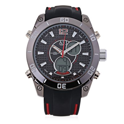 ASJ B117 Male Dual Movt WatchMens Watches<br>ASJ B117 Male Dual Movt Watch<br><br>Band Length: 8.94 inch<br>Band Material Type: Silicone<br>Band Width: 22mm<br>Case material: Alloy<br>Case Shape: Round<br>Clasp type: Pin Buckle<br>Dial Diameter: 1.89 inch<br>Dial Display: Analog-Digital<br>Dial Window Material Type: Glass<br>Feature: Alarm,Auto Date,Back Light,Chronograph,Luminous<br>Gender: Men<br>Movement: Digital,Quartz<br>Style: Sport<br>Water Resistance Depth: 50m<br>Product weight: 0.123 kg<br>Package weight: 0.144 kg<br>Product Size(L x W x H): 27.50 x 5.50 x 1.50 cm / 10.83 x 2.17 x 0.59 inches<br>Package Size(L x W x H): 28.50 x 6.50 x 2.50 cm / 11.22 x 2.56 x 0.98 inches<br>Package Contents: 1 x ASJ B117 Male Dual Movt Watch