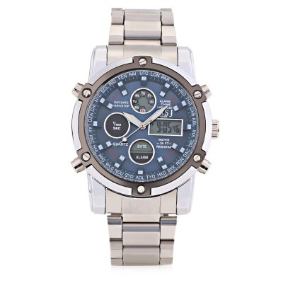 ASJ B110 Male Dual Movt Sports WatchMens Watches<br>ASJ B110 Male Dual Movt Sports Watch<br><br>Band Length: 9.45 inch<br>Band Material Type: Stainless Steel<br>Band Width: 22mm<br>Case material: Alloy<br>Case Shape: Round<br>Clasp type: Folding Clasp with Safety<br>Dial Diameter: 1.89 inch<br>Dial Display: Analog-Digital<br>Dial Window Material Type: Glass<br>Feature: Alarm,Back Light,Chronograph,Day,Luminous<br>Gender: Men<br>Movement: Digital,Quartz<br>Style: Sport<br>Water Resistance Depth: 30m<br>Product weight: 0.170 kg<br>Package weight: 0.191 kg<br>Product Size(L x W x H): 24.00 x 5.50 x 1.50 cm / 9.45 x 2.17 x 0.59 inches<br>Package Size(L x W x H): 13.00 x 6.50 x 2.50 cm / 5.12 x 2.56 x 0.98 inches<br>Package Contents: 1 x ASJ B110 Men Dual Movt Sports Watch