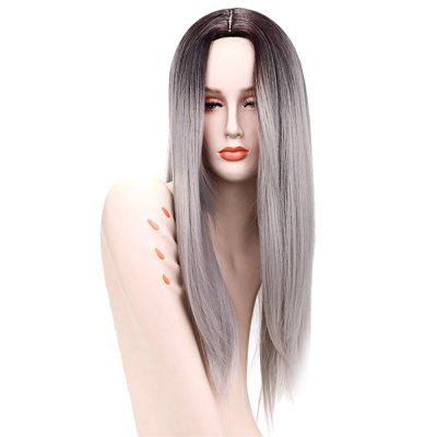 66CM Gradient Grey Ombre Long Straight False Hair Synthetic Full Wigs