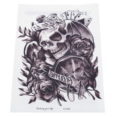 Skull Clock Rose Waterproof Temporary Tattoo Sticker