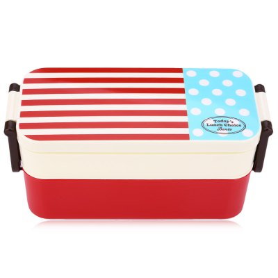 Double Tier Japan Style Navy Pattern Bento Lunch Box