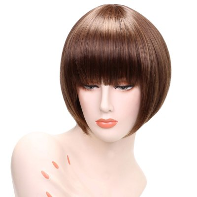 Neat Bang Straight Wigs Face Synthetic Hair
