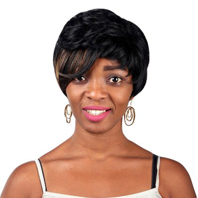 Short Fluffy Bangs Side Fringe Hair Wig for Women