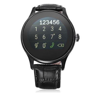 K88H Bluetooth 4.0 Smart WatchSmart Watches<br>K88H Bluetooth 4.0 Smart Watch<br><br>Built-in chip type: MTK2502<br>Bluetooth version: Bluetooth 4.0<br>Waterproof: Yes<br>Bluetooth calling: Call log sync,Dialing,Phone call reminder,Phonebook<br>Messaging: Message checking,Message reminder<br>Health tracker: Heart rate monitor,Pedometer,Sedentary reminder,Sleep monitor<br>Remote Control: Camera remote,Music remote<br>Notification: Yes<br>Find phone: Yes<br>Other Functions: Alarm,Calculator,Siri function,Stopwatch<br>Groups of alarm: 5 groups<br>Alert type: Ring,Vibration<br>Locking screen : 6 kinds<br>Screen: IPS<br>Screen resolution: 240 x 240<br>Screen size: 1.2 inch<br>Battery Type: Li-polymer<br>Battery Capacity: 300mAh<br>Power: Bulit-in Battery<br>People: Unisex watch<br>Shape of the dial: Round<br>Case material: Metal<br>Band material: Genuine Leather<br>Compatible OS: Android,IOS<br>Compatability: Android 4.4 / iOS 7.0 and above system<br>Language: Burmese,English,Hebrew,Indonesian,Malay,Thai,Vietnamese<br>Dial size: 4.4 x 4.4 x 1.2 cm / 1.73 x 1.73 x 0.47 inches<br>The band width: 2.2 cm / 0.87 inches<br>Product size (L x W x H): 24.50 x 4.50 x 1.20 cm / 9.65 x 1.77 x 0.47 inches<br>Package size (L x W x H): 19.50 x 6.50 x 5.00 cm / 7.68 x 2.56 x 1.97 inches<br>Product weight: 0.080 kg<br>Package weight: 0.229 kg<br>Package Contents: 1 x K88H Smart Watch, 1 x USB Charging Cable, 1 x English and Chinese Manual