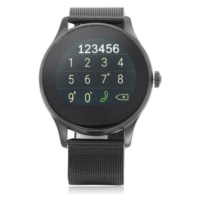 K88H Bluetooth 4.0 Smart WatchSmart Watches<br>K88H Bluetooth 4.0 Smart Watch<br><br>Built-in chip type: MTK2502<br>Bluetooth version: Bluetooth 4.0<br>Waterproof: Yes<br>Bluetooth calling: Call log sync,Dialing,Phone call reminder,Phonebook<br>Messaging: Message checking,Message reminder<br>Health tracker: Heart rate monitor,Pedometer,Sedentary reminder,Sleep monitor<br>Remote Control: Camera remote,Music remote<br>Notification: Yes<br>Find phone: Yes<br>Other Functions: Alarm,Calculator,Siri function,Stopwatch<br>Groups of alarm: 5 groups<br>Alert type: Ring,Vibration<br>Locking screen : 6 kinds<br>Screen: IPS<br>Screen resolution: 240 x 240<br>Screen size: 1.2 inch<br>Battery Type: Li-polymer<br>Battery Capacity: 300mAh<br>Power: Bulit-in Battery<br>People: Unisex watch<br>Shape of the dial: Round<br>Case material: Metal<br>Band material: Stainless Steel<br>Compatible OS: Android,IOS<br>Compatability: Android 4.4 / iOS 7.0 and above system<br>Language: Burmese,English,Hebrew,Indonesian,Malay,Thai,Vietnamese<br>Dial size: 4.4 x 4.4 x 1.2 cm / 1.73 x 1.73 x 0.47 inches<br>The band width: 2.2 cm / 0.87 inches<br>Product size (L x W x H): 24.50 x 4.50 x 1.20 cm / 9.65 x 1.77 x 0.47 inches<br>Package size (L x W x H): 19.50 x 6.50 x 5.00 cm / 7.68 x 2.56 x 1.97 inches<br>Product weight: 0.080 kg<br>Package weight: 0.229 kg<br>Package Contents: 1 x K88H Smart Watch, 1 x USB Charging Cable, 1 x English and Chinese Manual