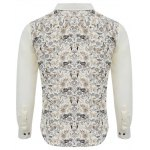 Buy Floral Print Slim Fit Patchwork Male Long Sleeve Shirt 2XL OFF-WHITE