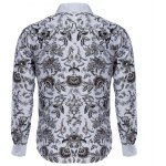 Buy Floral Printed Slim Fit Long Sleeve Casual Shirt Male 2XL WHITE