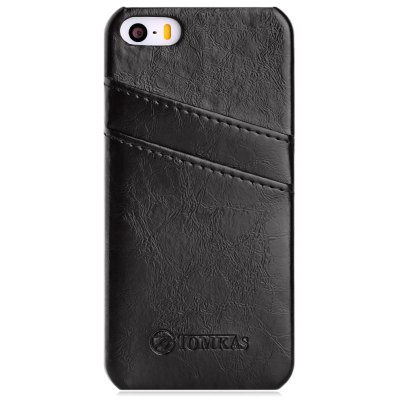 TOMKAS Oil Wax PU Leather Back Cover with Card Holder Function for iPhone 5 / 5S / SE