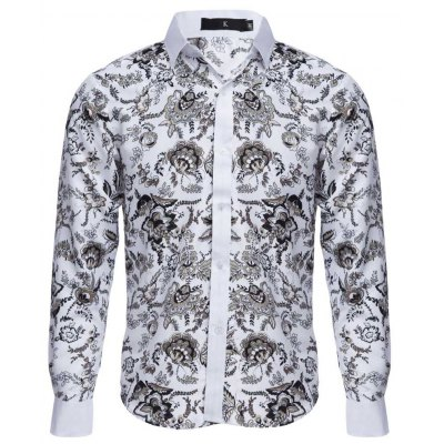 Floral Printed Slim Fit  Long Sleeve Casual Shirt for Male